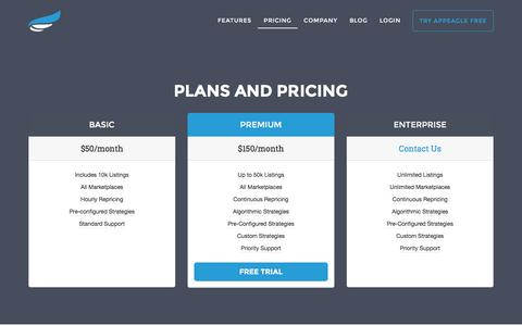 Screenshot of Pricing Page appeagle.com - Affordable Pricing Plans | The Most Popular Amazon Repricing Software - captured Dec. 8, 2015