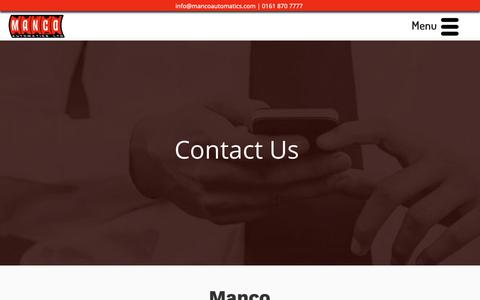 Screenshot of Contact Page mancoautomatics.com - Contact Manco Automatics | Fruit Machines Manchester - captured Dec. 17, 2018