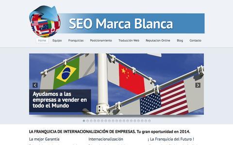 Screenshot of Home Page seomarcablanca.com - SEO Marca Blanca - captured Sept. 18, 2014