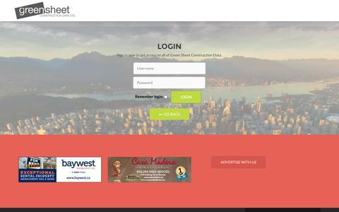 Screenshot of Login Page greensheet.ca - Zerif - Responsive One Page Template - captured Nov. 2, 2014
