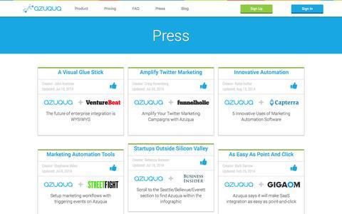 Screenshot of Press Page azuqua.com - Articles and Press Releases | Azuqua - captured Oct. 28, 2014