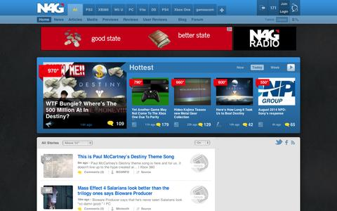 Screenshot of Home Page n4g.com - Hottest Game News & Rumors | N4G - captured Sept. 12, 2014