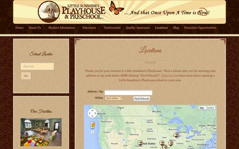 Screenshot of Locations Page littlesunshine.com - School Locations | Little Sunshine's Playhouse - captured Oct. 2, 2014