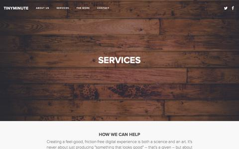Screenshot of Services Page tinyminute.com - » Services - captured March 18, 2016