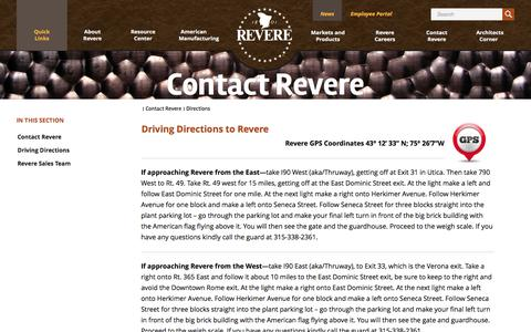 Screenshot of Maps & Directions Page reverecopper.com - Directions | Revere Copper - captured Oct. 7, 2014
