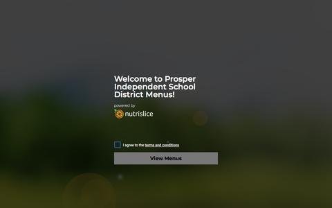 Screenshot of Menu Page nutrislice.com - Splash Page | Prosper Independent School District - captured July 1, 2018