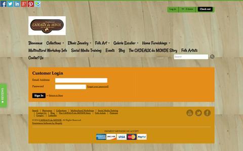 Screenshot of Login Page myshopify.com - Account | CADEAUX du MONDE - captured Sept. 19, 2014