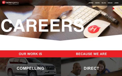Screenshot of Jobs Page hal2l.com - Hacker Agency Direct Digital + CRM Careers in Seattle | Munich | Prague | Shanghai - captured Oct. 2, 2014