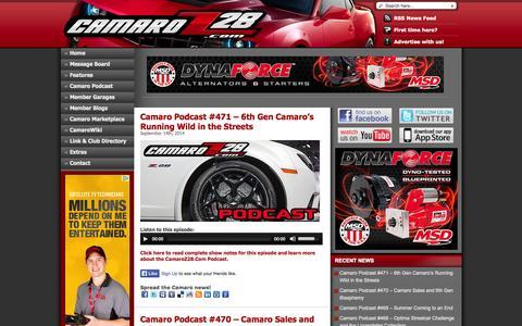 Screenshot of Home Page camaroz28.com - CamaroZ28.Com - The Ultimate Source for ALL Camaro News, Info, and Community - captured Sept. 23, 2014