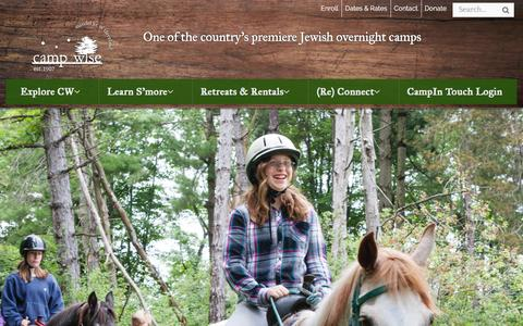 Screenshot of Home Page campwise.org - Home - Camp Wise - captured April 1, 2016