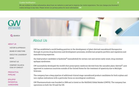 Screenshot of About Page gwpharm.com - About Us | GW Pharmaceuticals, plc - captured March 20, 2018