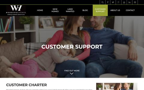 Screenshot of Support Page wonderfulhomes.co.uk - Customer Support - Wonderful Homes Limited - captured Oct. 20, 2018