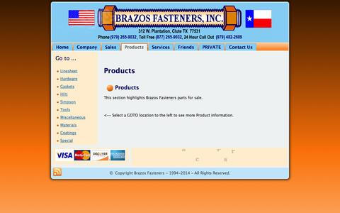 Screenshot of Products Page brazosfasteners.com - Products - captured Oct. 5, 2014