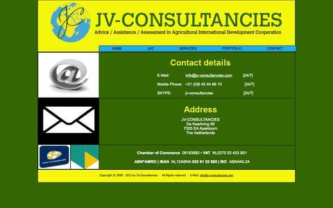 Screenshot of Contact Page jv-consultancies.com - JV-Consultancies' contact details - captured Sept. 30, 2014