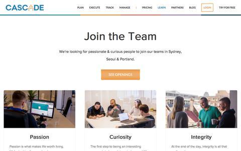 Screenshot of Jobs Page executestrategy.net - Careers @ Cascade | Cascade Strategy - captured Dec. 7, 2017