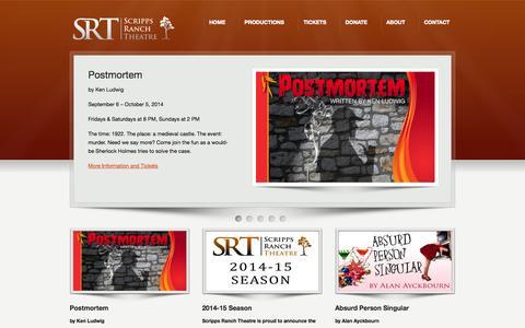 Screenshot of Home Page scrippsranchtheatre.org - Scripps Ranch Theatre - captured Sept. 29, 2014