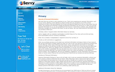 Screenshot of Privacy Page besavvy.com - Web Content Management - Savvy Web Content Manager - a ColdFusion based CMS for Mac and PC - captured Jan. 7, 2017