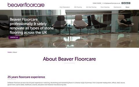 Screenshot of About Page beaverfloorcare.co.uk - About Beaver Floorcare - Beaver Floorcare - captured Dec. 31, 2015