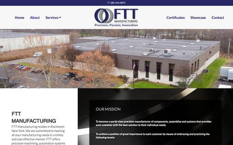 Screenshot of About Page fttmfg.com - About - FTT Manufacturing - captured Nov. 14, 2018