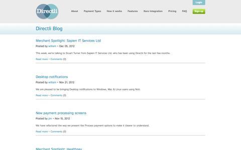 Screenshot of Blog directli.co.uk - Directli Blog •• Directli online Direct Debit processing - captured Sept. 25, 2014