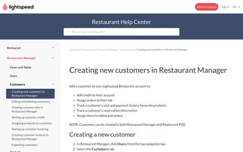 Creating new customers in Restaurant Manager – Lightspeed Restaurant