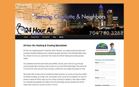 Screenshot of About Page 24hourair.com - 24 Hour Air: Heating & Cooling Specialists | 24hourair - captured Dec. 21, 2016