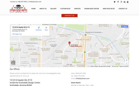 Screenshot of Contact Page alyshaan.com - Contact Us - Alyshaan Fine Rugs - captured Nov. 20, 2016