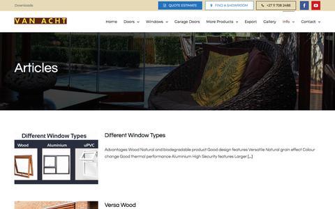 Screenshot of Press Page vanacht.co.za - Articles - Van Acht Windows & Doors - captured Jan. 20, 2018