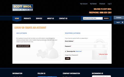Screenshot of Login Page scottbros.com - Customer Login - Scott Bros - captured Sept. 30, 2014