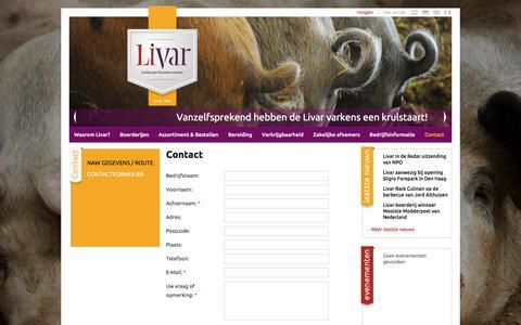 Screenshot of Contact Page livar.nl - Livar - Contact - captured Jan. 31, 2016