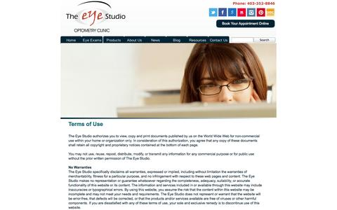 Screenshot of Terms Page theeyestudio.ca - Terms of Use | The Eye Studio | Red Deer, Alberta - captured Oct. 7, 2014