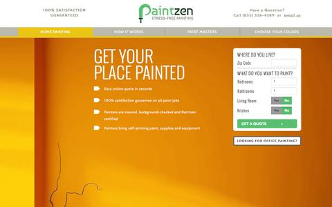 Screenshot of Home Page paintzen.com - Home and Office Painting Services | Painters | Paintzen - captured Dec. 13, 2014