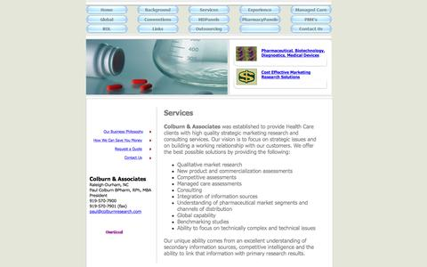 Screenshot of Services Page colburnresearch.com - Colburn & Associates Ltd -- Pharmaceutical Market Research & Business Information Services - captured Nov. 8, 2016