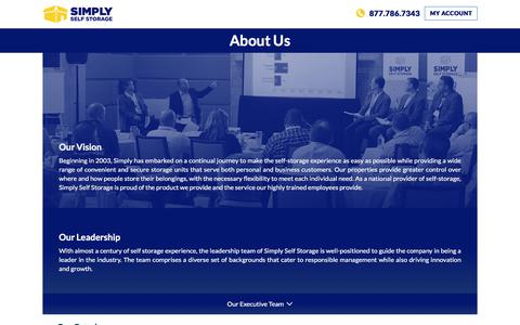 Screenshot of About Page simplyss.com - Corporate Information   Simply Self Storage - captured Sept. 22, 2018