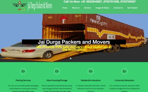 Screenshot of Home Page jaidurgapackersnmovers.com - Professional Packers And Movers For Household Items in Pune, India - captured Oct. 6, 2014