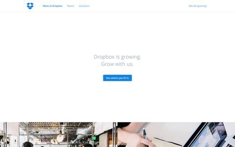 Screenshot of Jobs Page dropbox.com - Dropbox - Jobs - captured June 16, 2015