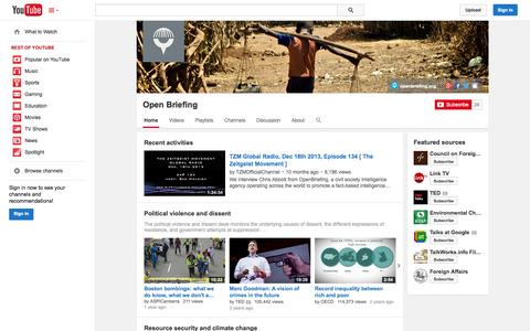 Screenshot of YouTube Page youtube.com - Open Briefing  - YouTube - captured Oct. 26, 2014