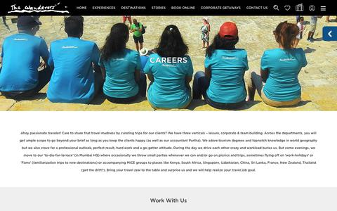 Screenshot of Jobs Page thewanderers.travel - The Wanderers   Careers - captured Sept. 21, 2018