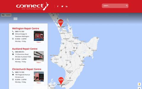 Screenshot of Locations Page connectnz.co.nz - Repair Centre Locations » Connect NZ | Your technology partner - captured July 21, 2018