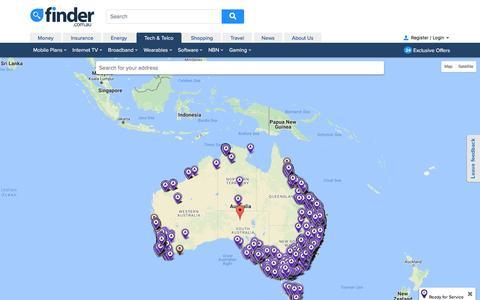 Screenshot of Maps & Directions Page finder.com.au - NBN Rollout Map | finder.com.au - captured Aug. 27, 2016