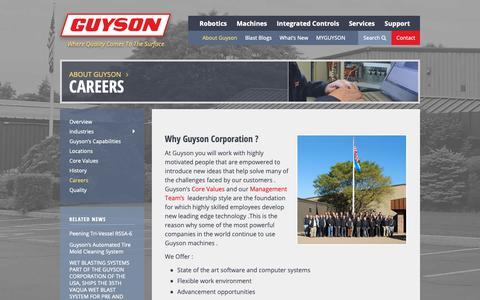 Screenshot of Jobs Page guyson.com - Careers | Guyson - captured Dec. 16, 2018