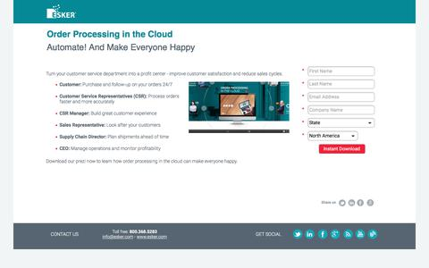 Screenshot of Landing Page esker.com - Prezi: Order Processing in the Cloud   Esker - captured July 20, 2018