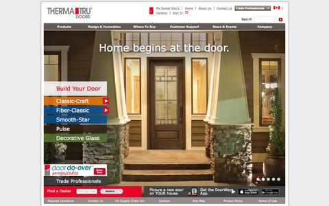 Screenshot of Home Page thermatru.com - Home Begins with the Door | Therma-Tru - captured Aug. 4, 2015