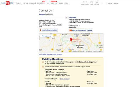 Screenshot of Contact Page makemytrip.com - Contact Us | www.makemytrip.com - captured Dec. 20, 2018