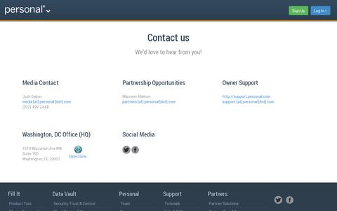 Screenshot of Contact Page personal.com - Contact   Personal.com - captured July 19, 2014
