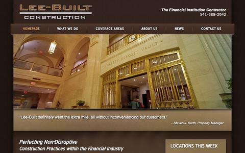 Screenshot of Home Page leebuilt.com - Lee-Built Contruction - captured Oct. 2, 2014