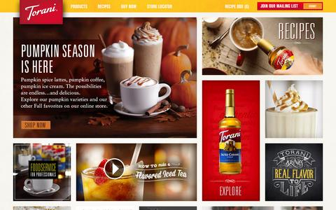 Screenshot of Home Page torani.com - Authentic Coffeehouse Flavor | Torani速 - captured Oct. 1, 2015