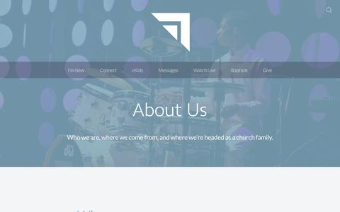 Screenshot of About Page mycornerstone.me - About Us - Cornerstone Church - captured Sept. 29, 2018