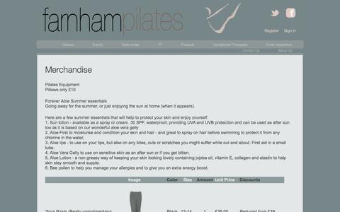 Screenshot of Products Page farnhampilates.com - Merchandise | Farnham Pilates - captured Sept. 30, 2014
