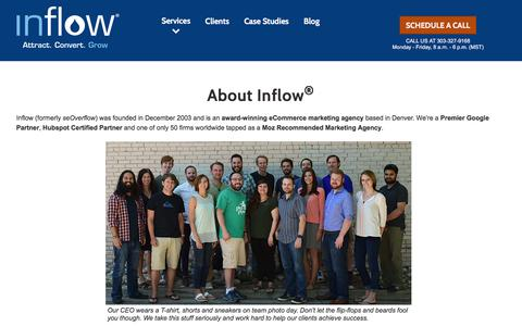 Screenshot of About Page goinflow.com - About Inflow – eCommerce Marketing Agency - Denver, CO - captured June 18, 2017